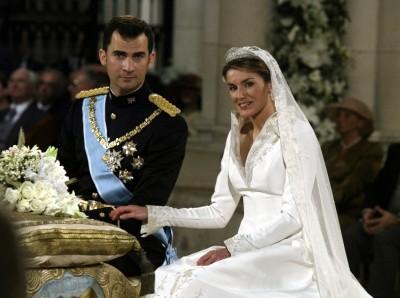Ceremonia religiosa de la boda de su Altesa Real Príncipe de Gerona y de Asturia, don Felipe de Borbón y Grecia con doña Letizia Ortiz Rocasolano, en la Catedral Almudena de Madrid, 22 de mayo 2004