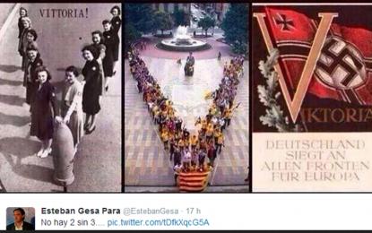 """Gesa Portavoz del PP Sbll: """"No hay 2 sin 3"""". La V fascistas y nazis se parece a la V separatista del 11-S"""
