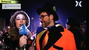 El rey del carnaval,  'Rey Canestoltes con bandera de odio a España