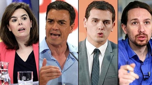 Rivera (C's), Soraya -Rajoy (PP), Sánchez (PSOE) y Iglesias (Podemos) se enfrentan hoy a 20:00H