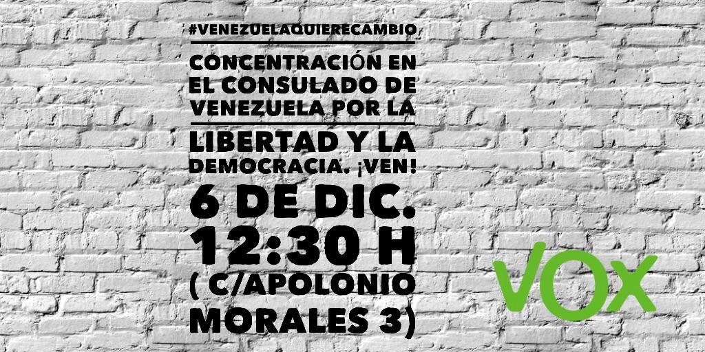 """VOX se concentra ante la embajada de Venezuela en Madrid para apoyar el """"cambio"""""""