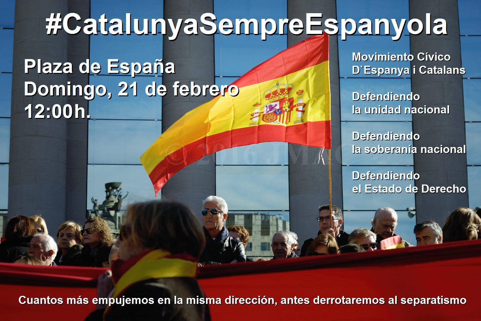 """España y Catalanes se suma a la convocatoria """"Juntos contra el separatismo"""" del 21-F en Barcelona"""