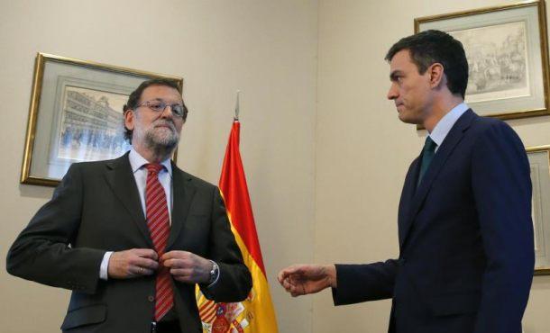 Vídeo del Saludo frío entre Mariano Rajoy y Pedro Sánchez antes de reunirse en el Congreso