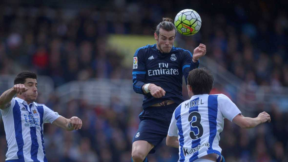 Bale pone al Real Madrid líder provisional de la liga española profesional de fútbol en Anoeta (0-1)
