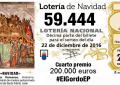 Primer cuarto premio 59.444 de Loteria de Navidad 2016, dotado con 200.000€, Lérida y Madrid