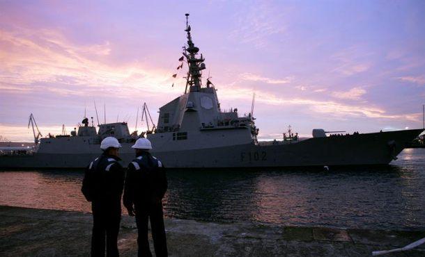 La fragata 'Almirante Juan de Borbón' a su llegada al Arsenal Militar de Ferrol de tras su despliegue en la SNMG-1 como buque de mando. Archivo Efe.