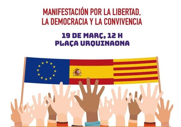 """Cataluña: No nos dejen solos """"contra el golpe"""" separatista mañana domingo en Barcelona"""