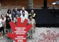 Una mano roja con «Pamplona Libre de Agresiones Sexistas», compromiso para Sanfermines 2017