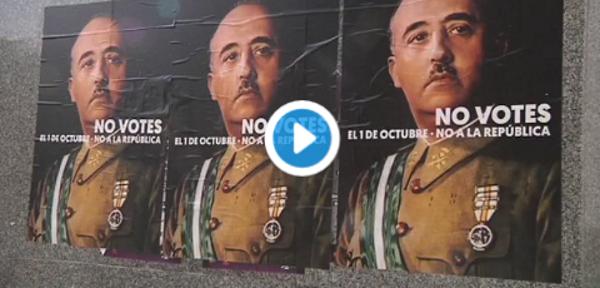 Separatistas izquierdistas llaman a votar el referéndum con carteles de expresidente Franco