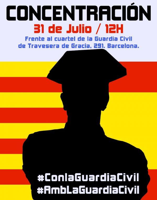 Los «Catalanes Con la Legalidad y Con la Guardia Civil» facilitan el cartel de la concentración