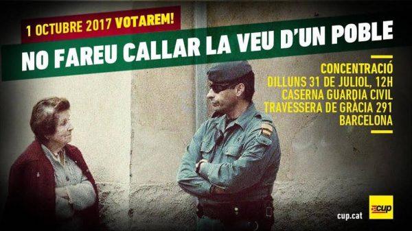 """CUP llama a la movilización contra la """"Guardia Civil"""" ante el caurtel de Traversera de Gracia"""