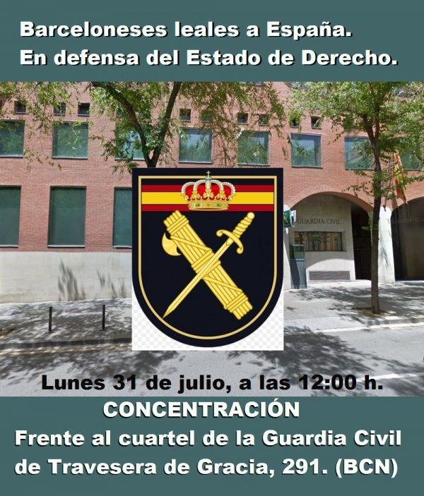 """Cataluña pide """"mensajes de cariño a la Guardia Civil y familias"""" a las 11H con #ConLaGuardiaCivil"""