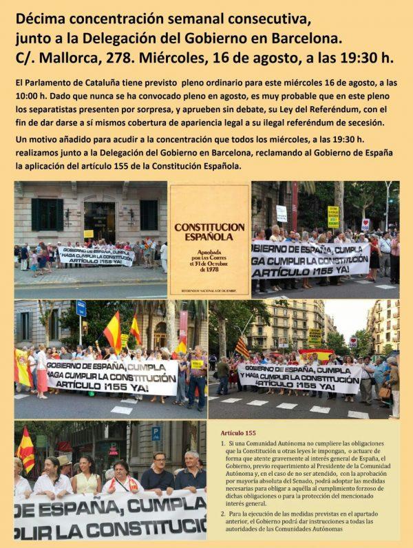 Facilitan el cartel de la 10ª concentración ante Delegación de Gobierno en Barcelona