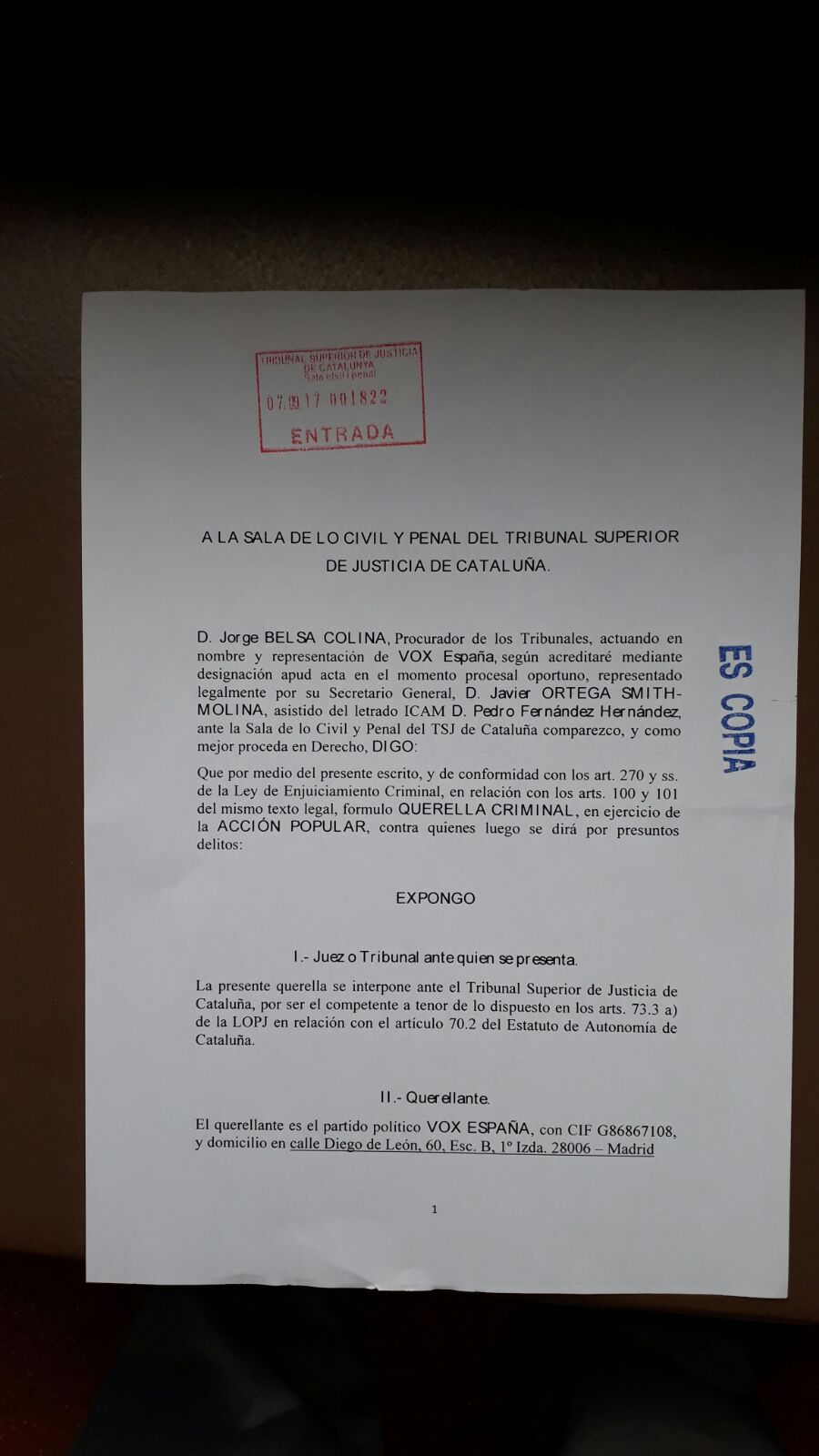 VOX solicita al juez la detención inmediata y sin fianza de Puigdemont y Forcadell