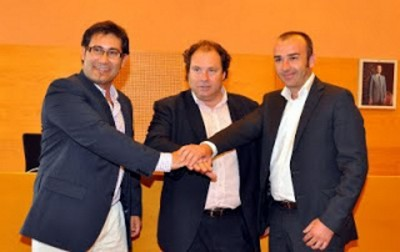 José Oviedo (PP), Daniel Masagué (alcalde, CiU) e Ignasi Duran (GIT) Foto del pacto del gobierno Municipal *Separatista*, 07/06/2014 - Torredembarra [Tarragona]
