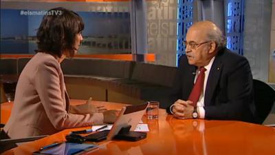 Andreu Mas Colell (consejero de economía del gobierno separatista catalán) en su entrevista, esta mañana en *Las Mañanas de Tv3*