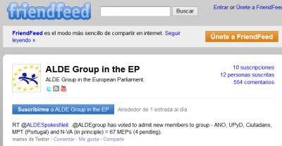 Publicación de la notica sobre la admisión de Ciutadans y UPyD en la ALDE - Cuenta Friendfeed del grupo Liberal Europeo