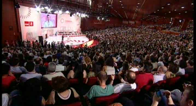 Pedro Sánchez durante su discurso de clausura en el Hotel Auditorium de la capital de España. Foto PSOE