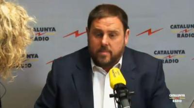 Líder ultra separatista radical de ERC, Oriol Junqueras Vies, en su entrevista de esta mañana en Cataluña radio. Foto Cataluña Radio