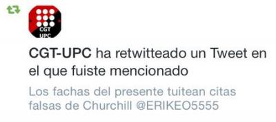 Retuit del sindicato CGT en solidaridad a los separatistas ultra radicales que han estado atacando el joven barcelonés, Erik Encinas Ortega,  en su cuenta tuiter.