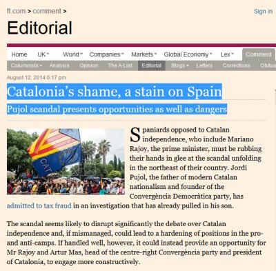 La vergüenza de Cataluña_una mancha en España_ Financial Times dedica un editorial al separatismo catalán