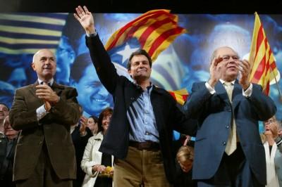 Jordi Pujol, Artur Mas Y Josep Aontoni Duran Lleida en campaña electoral. foto archivo