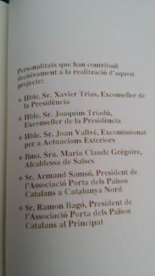 Lista de los nombre y apellidos de los miembros del gobiernos de Jordi Pujol Soley que colaboraron directamente a la construcción del monumento fuera de España