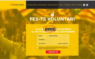 cifra total de voluntarios inscritos a la V del 11-S, fecha: