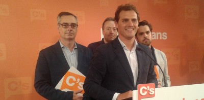José Manuel Villegas, Juan Carlos Girauta, Fernando de Páramo, Albert Rivera durante la rueda de prensa