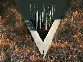 """""""V"""" de la diada separatista del 11-S 2014 en Cataluña"""