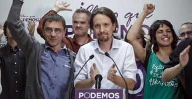 Podemos celebrando su victoria contando con el apoyo de los pobres - EFE