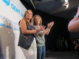 Camacho y la vicepresidenta del gobierno de la nación durante el mitín, foto Europa Press