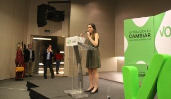 Ariadna Hernández Torrijos durante un mitin de VOX en Barcelona- Foto Joseph / archivo
