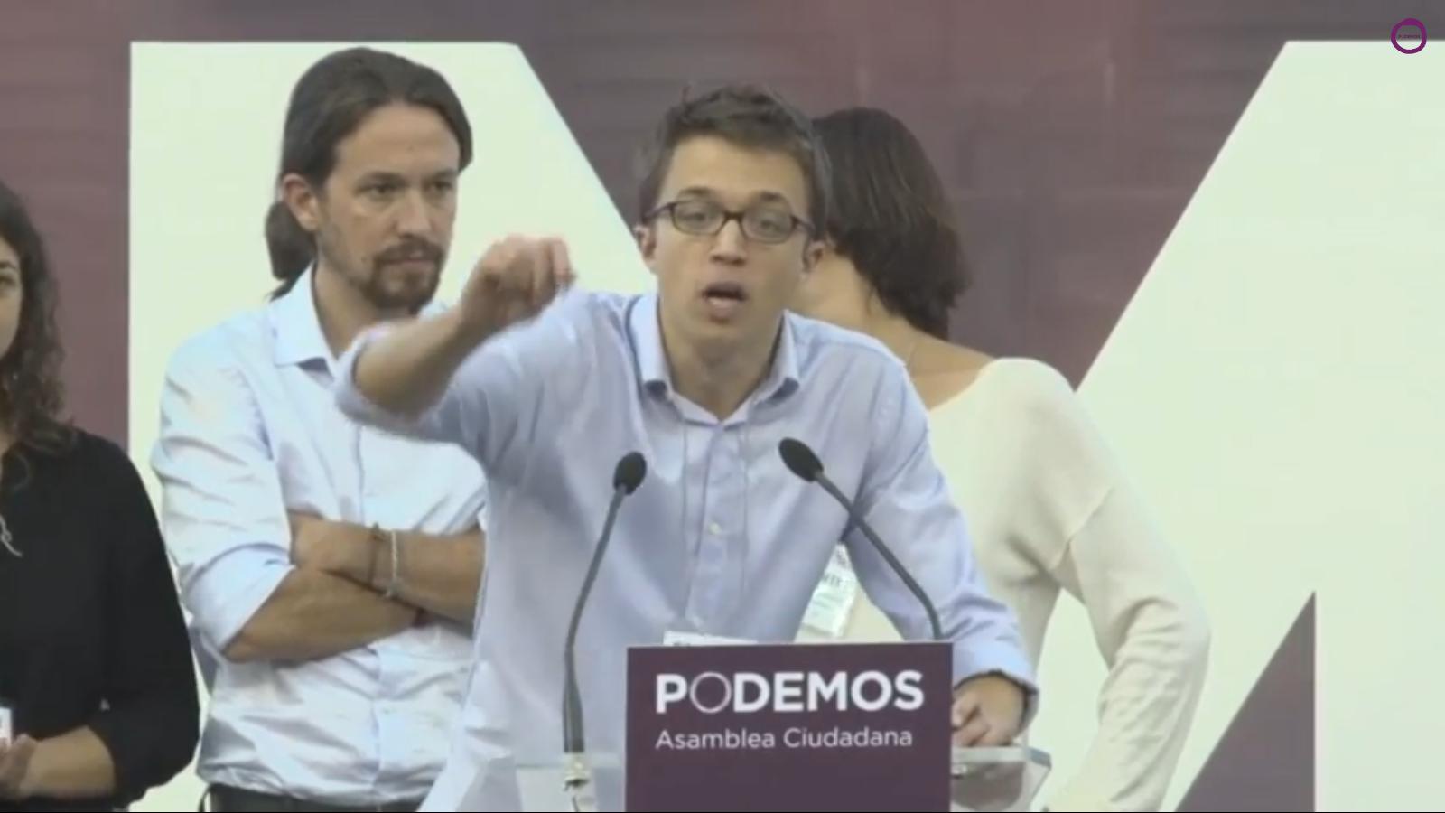 Íñigo Errejón Galván, el portavoz del partido de Pablo Iglesias, en el Congreso, durante un acto de campaña de la formación. Lasvocesdelpueblo.
