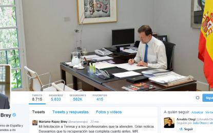 """Mariano Rajoy: """"Mi felicitación a Teresa y a los profesionales que la atienden. Gran noticia """""""