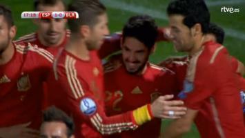 celebración del gol de Isco
