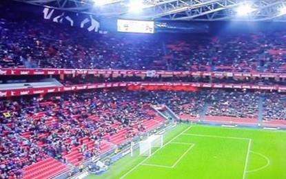 """Estadio San Mamés medio vacío durante todo el partido amistoso separatista """"Euskadi-Cataluña"""" para odio a España"""