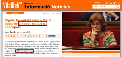 Mas oculta informaciones sobre el estado de salud  de Irene Rigau que se fracturó la pierna y el codo en Francia