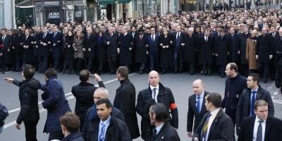 Jefes de Estados y Primer Ministros de más de 50 países presentes a la manifestación / foto Reutrs