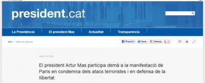 Mas participa mañana en de París al 'Gran Mitin', a pesar de maltratar a víctimas del terrorismo en casa.
