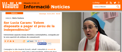 Sor Lucía, monja separatista catalana origen Argentina, llama a la lucha para fracturar España...