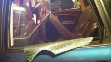 Coche policial con cristales rotos por la violencia de Osmar S., foto Policía