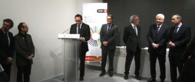 Artur Mas acompañado del alcalde separatista del Ayuntamiento de Barcelona, Xavier Trias, durante el acto