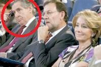 De la Izda. a la Dcha. : el delincuente Miguel Blesa, Mariano Rajoy y Esperanza Aguire, presidenta del PP Madrid y expresidenta de Madrid