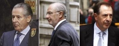 De Izda. a la Dcha. delincuentes corruptos del PP, Miguel Blesa; Rodrigo Rato; y Ildefonso Sánchez Barcoj