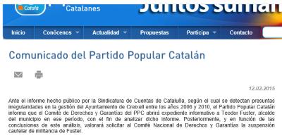 El PP catalán abrirá un expediente informativo a uno de sus corruptos, el exalcalde  Teodor Fuster