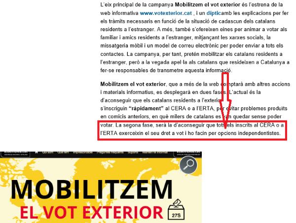 ANC pretende con una campaña, movilizar el voto de españoles en el extranjero solo por la opción independentista.