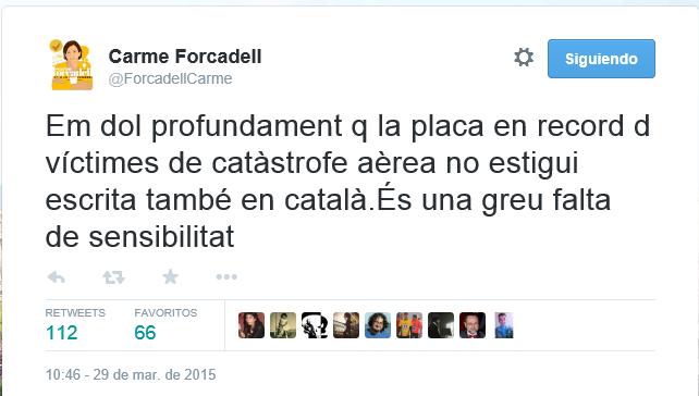 Forcadell aprovecha del desastre de Germanwings para hacer reivindicaciones separatistas inhumanas ,