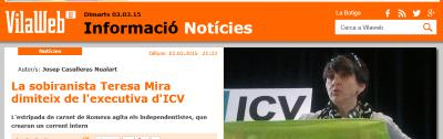 La mujer que lidera el ultra separatismo en ICV, Teresa Mira, abandona el comité ejecutivo de ICV.