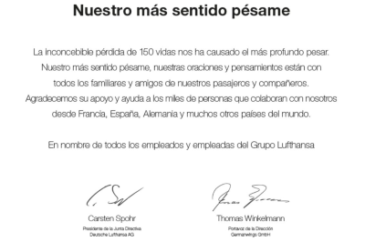Lufthansa y de Germanwings firman conjuntamente una Carta de Pésame por el asesinato de 150 personas